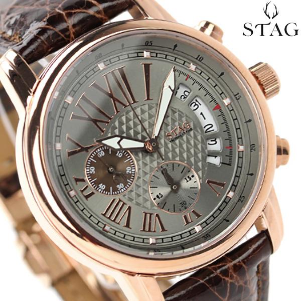 スタッグ クロノグラフ 日本製 YM NINETY FIVE メンズ STG011P1 STAG 腕時計 クオーツ グレー×ブラウン レザーベルト 時計
