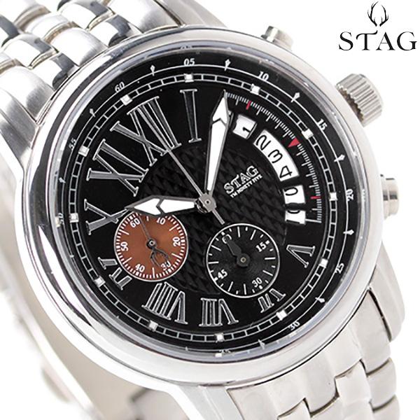 スタッグ クロノグラフ 日本製 YM NINETY FIVE メンズ STG011S2 STAG 腕時計 クオーツ ブラック 時計