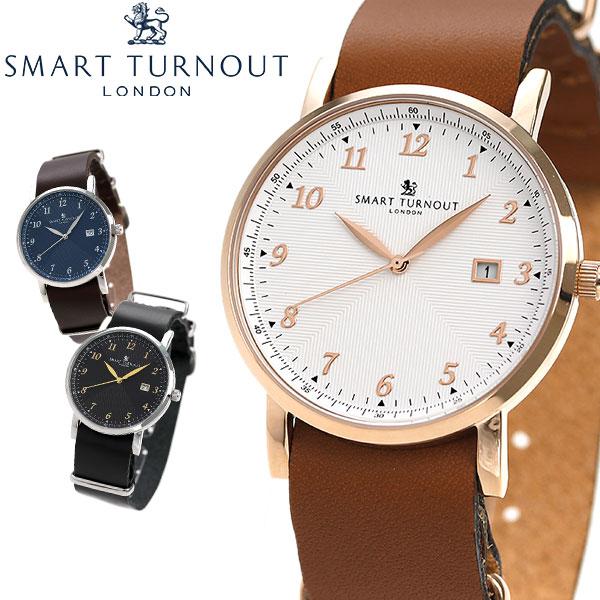 スマートターンアウト 革ベルト 日付表示搭載 ユニセックス 腕時計 SMART TURNOUT 時計