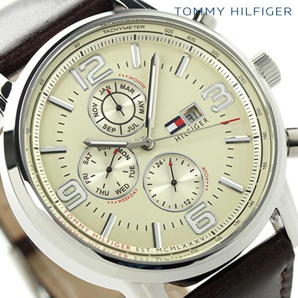 トミー ヒルフィガー マルチカレンダー メンズ 腕時計 1710337 TOMMY HILFIGER クオーツ ベージュ×ブラウン 時計【あす楽対応】