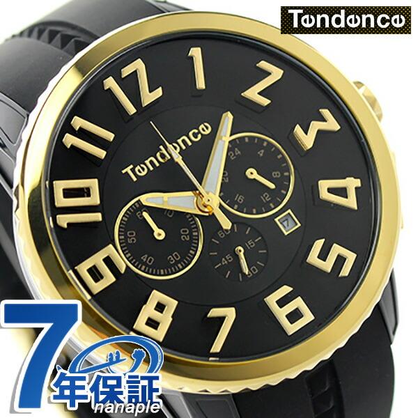 テンデンス ガリバー 47 クロノグラフ クオーツ 腕時計 TY460011 TENDENCE ブラック×ゴールド 時計
