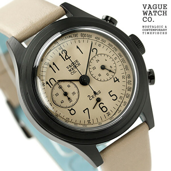 ヴァーグウォッチ ツーアイズ 38mm クロノグラフ 2C-L-001 VAGUE WATCH Co. 腕時計 クオーツ ベージュ レザーベルト 時計【あす楽対応】