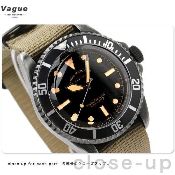 vaguuotchi手表人黑色副黑色×橄榄尼龙皮带VAGUE WATCH Co. BS-L-001