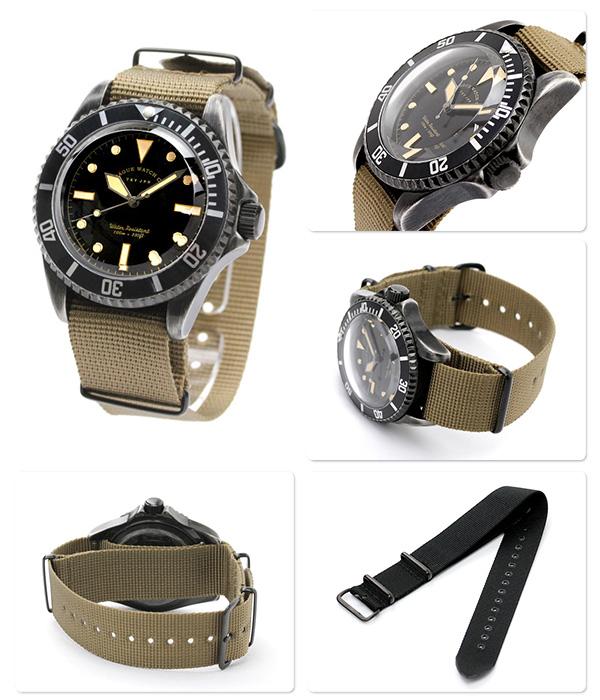 vaguuotchi手錶人黑色副黑色×橄欖尼龍皮帶VAGUE WATCH Co. BS-L-001