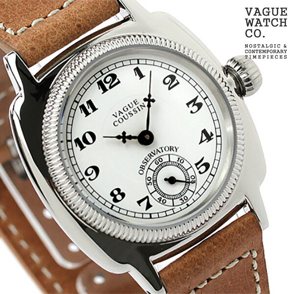 vaguuotchi手錶menzusumorusekondokussanhowaito×棕色皮革皮帶VAGUE WATCH Co. CO-L-001
