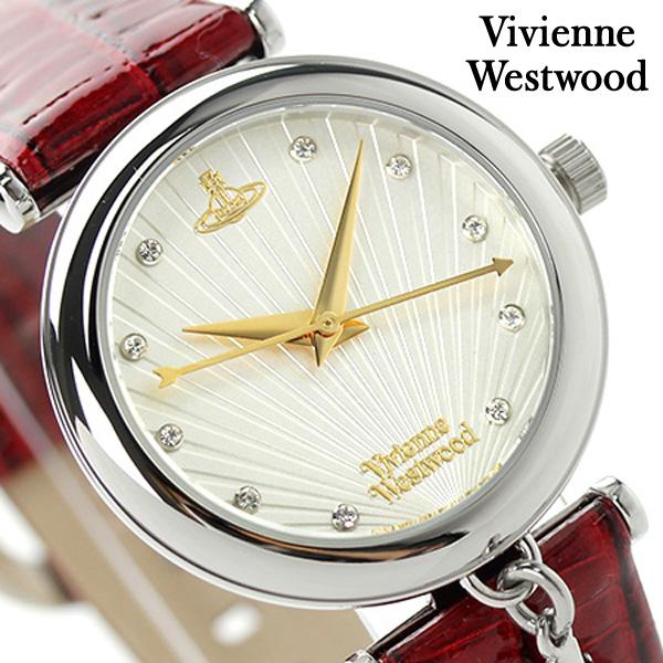 ヴィヴィアン・ウエストウッド トラファルガー レディース VV108WHRD Vivienne Westwood 腕時計 クオーツ シルバー×レッド レザーベルト 時計