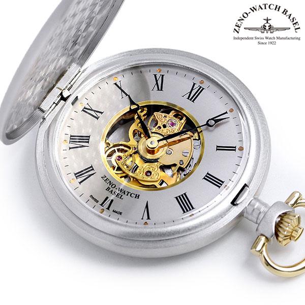 【20日はさらに+4倍でポイント最大27倍】 ゼノウォッチ ZENO WATCH 懐中時計 ハンターケース スイス製 手巻き ZT-380/76 シルバー 時計