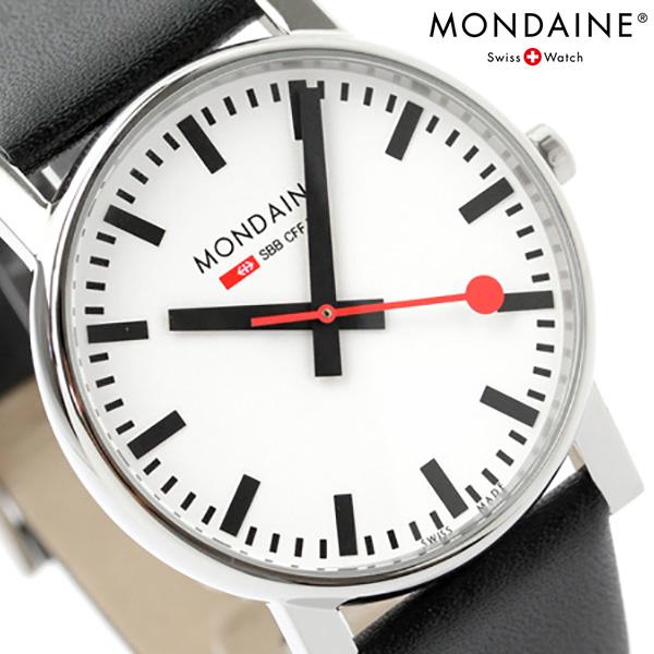 モンディーン 腕時計 エヴォ 35mm ホワイト×ブラック レザーベルト MONDAINE A658.30300.11SBB 時計