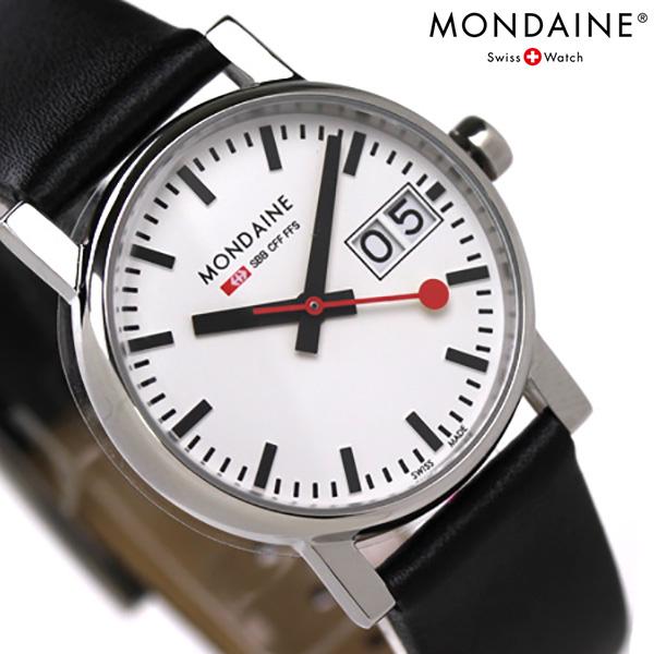 MONDAINE モンディーン 腕時計 Evo エヴォ ビッグデイト レディース ブラックレザー×ホワイト A669.30305.11SBB 時計