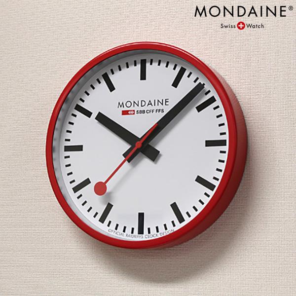 モンディーン 掛時計 ウォールクロック 250mm ホワイト×レッド MONDAINE A990.CLOCK.11SBC 時計