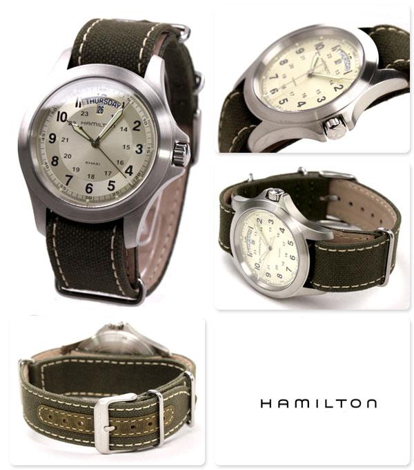 HAMILTON Hamilton Khaki King khaki King mens watch グリーンキャンバスス strap H64451823