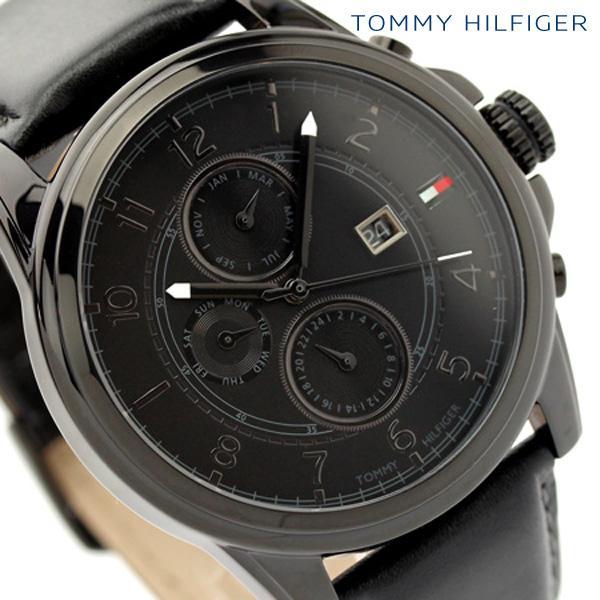 トミー ヒルフィガー TOMMY HILFIGER メンズ 腕時計 オールブラック レザーベルト 1710295【あす楽対応】