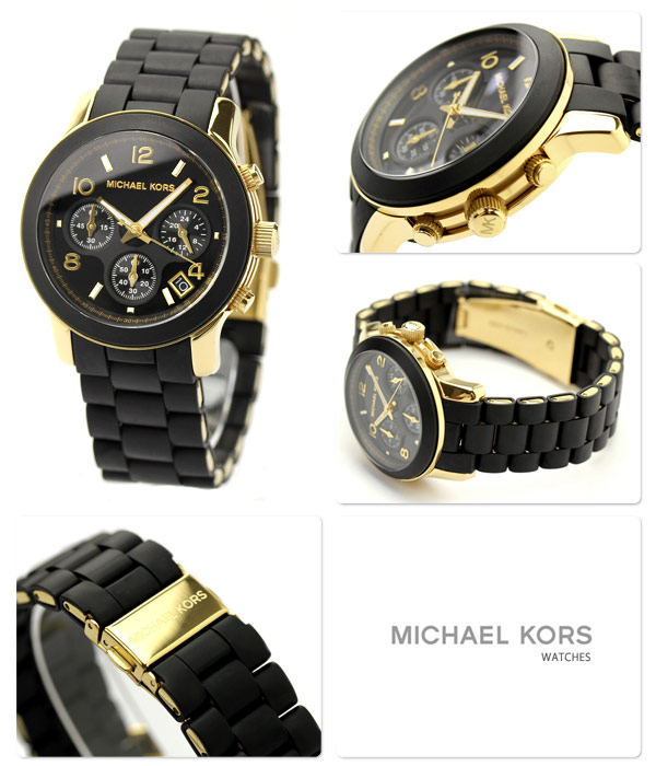 e3f0aef27e39 MICHAEL KORS Michael Kors Ladys watch chronograph black X gold rubber belt  MK5191 ...