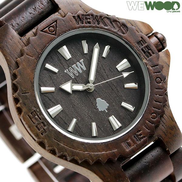 ウィーウッド デイト 木製 腕時計 9818136 WE WOOD ダークブラウン 時計