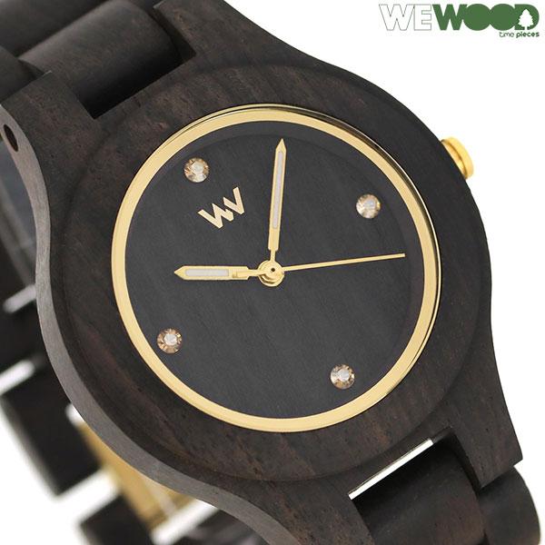 ウィーウッド 木製 天然木 36mm レディース 腕時計 9818179 WE WOOD ANTEA BLACK GOLD 時計【あす楽対応】