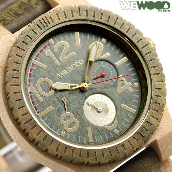 ウィーウッド 木製 天然木 47mm マルチファンクション 腕時計 9818184 WE WOOD KARDO ARMY BEIGE 時計