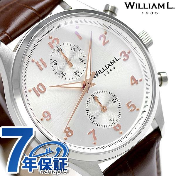 ウィリアムエル スモール クロノグラフ メンズ 腕時計 WLAC02GOCM WILLIAM L シルバー 時計【あす楽対応】