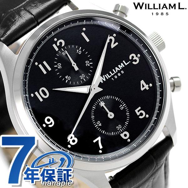ウィリアムエル スモール クロノグラフ メンズ 腕時計 WLAC02NRCN WILLIAM L ブラック 時計【あす楽対応】