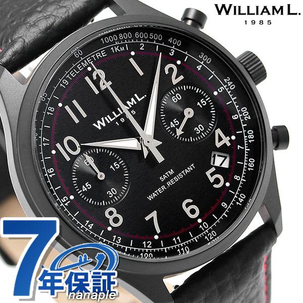 ウィリアムエル ヴィンテージ クロノグラフ メンズ 腕時計 WLIB01NRBNSR WILLIAM L オールブラック 時計【あす楽対応】