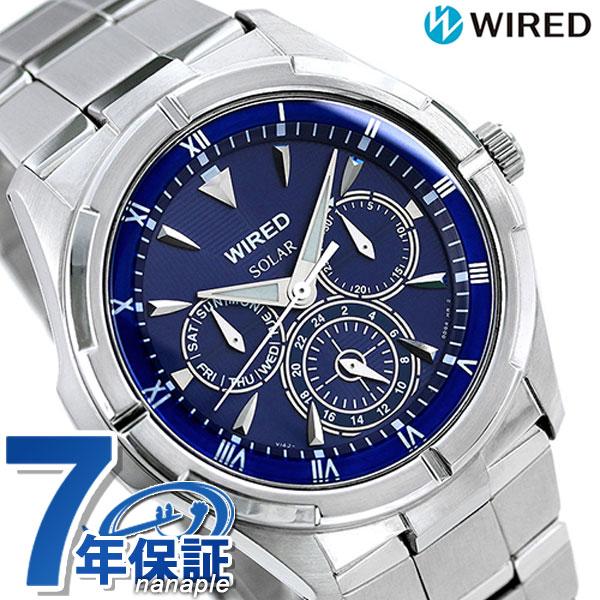 セイコー ワイアード ソーラー マルチカレンダー メンズ 腕時計 AGAD033 SEIKO WIRED ブルー 時計