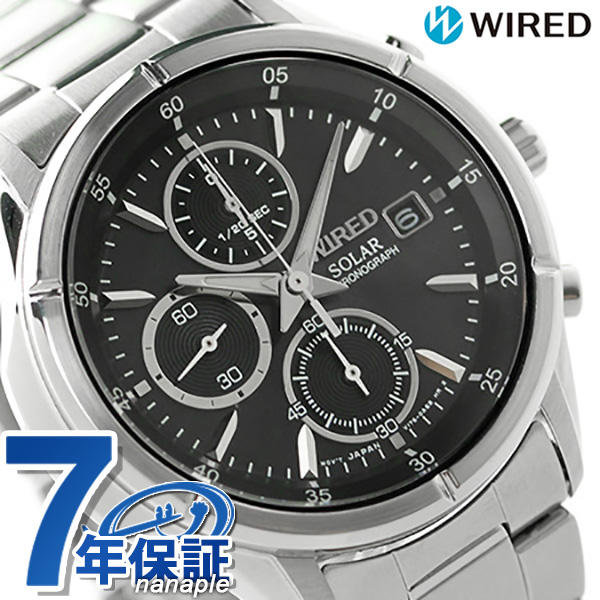 セイコー ワイアード ソーラー クロノグラフ メンズ 腕時計 AGAD057 SEIKO WIRED ニュースタンダード ブラック 時計