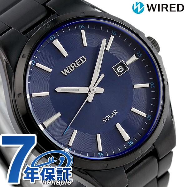 セイコー ワイアード ニュースタンダード ソーラー 42mm AGAD403 SEIKO WIRED 腕時計 ネイビー×ブラック