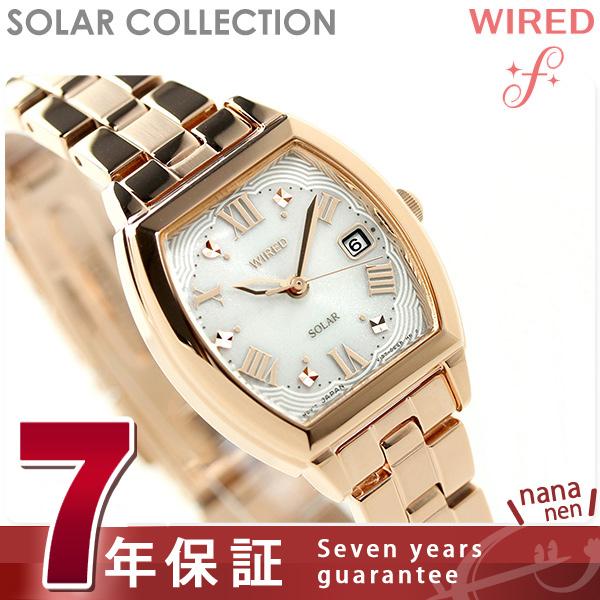 セイコー ワイアード エフ ソーラー レディース 腕時計 AGED077 SEIKO WIRED f ピンク×ピンクゴールド 時計