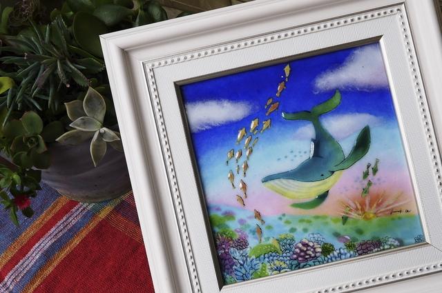 くじらが見た夢 七宝 額 アート プレゼント 絵画 絵 水彩画