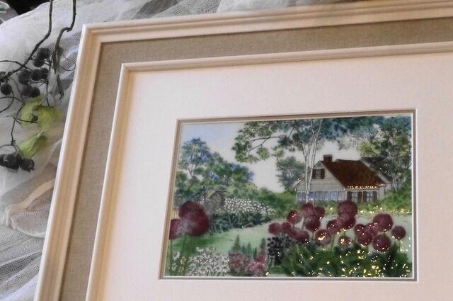 アリュームの庭 七宝 額 アート 水彩画 絵 絵画 イラスト ガラス プレゼント 新築祝 初夏の庭
