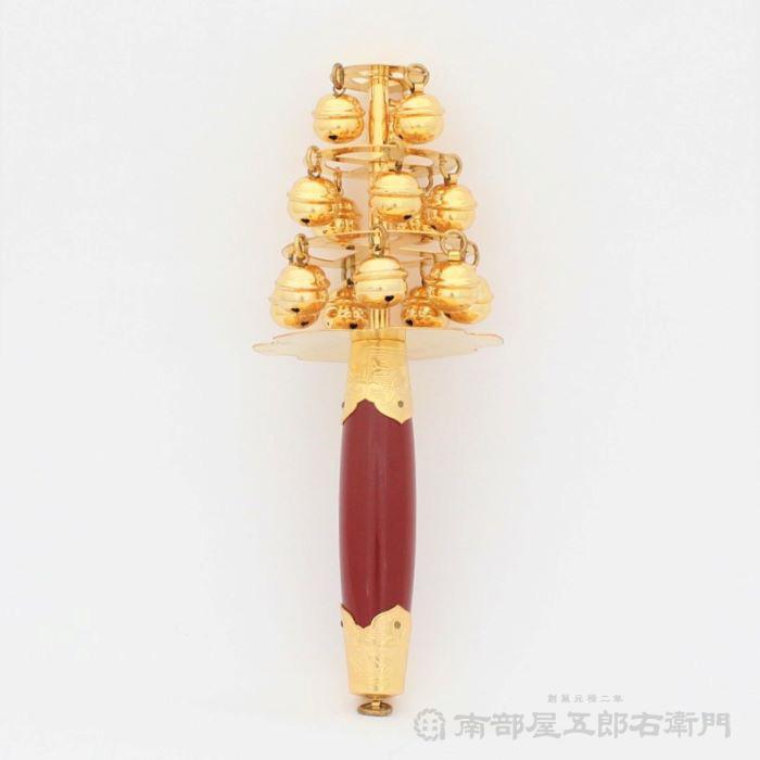 神楽鈴(小) 金メッキ付品 本体の長さ約24,5cm 鈴の大きさ8分