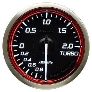 Defi/デフィ Racer Gauge N2(レーサーゲージ N2) ターボ計2.0(TURBO) Φ52 レッド 商品番号:DF16003