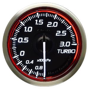 Defi/デフィ Racer Gauge N2(レーサーゲージ N2) ターボ計3.0(TURBO) Φ52 レッド 商品番号:DF16103