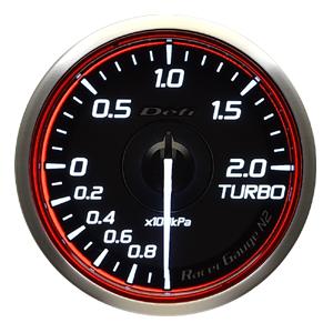 Defi/デフィ Racer Gauge N2(レーサーゲージ N2) ターボ計2.0(TURBO) Φ60 レッド 商品番号:DF16603