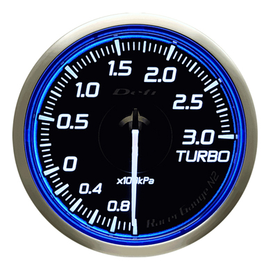 Defi/デフィ Racer Gauge N2(レーサーゲージ N2) ターボ計3.0(TURBO) Φ60 ブルー 商品番号:DF16701