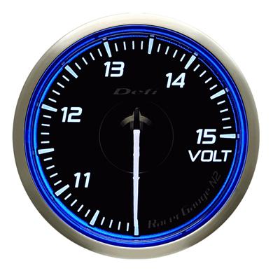 Defi/デフィ Racer Gauge N2(レーサーゲージ N2) 電圧計(VOLT) Φ60 ブルー 商品番号:DF17101
