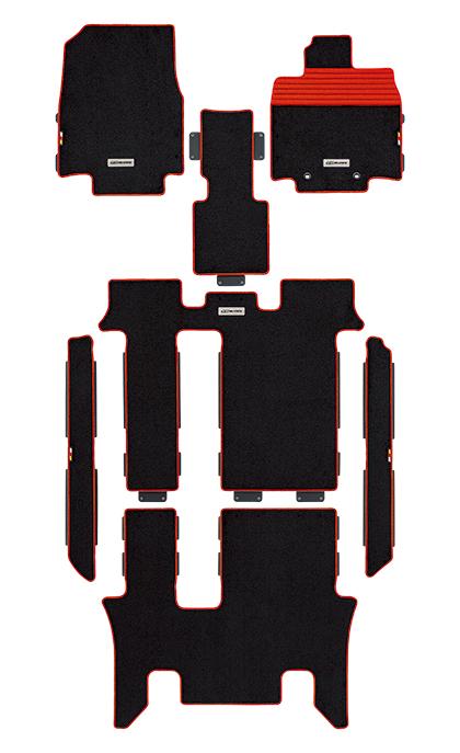 【スーパーセール!全品2倍以上&特別クーポン!マイカー割最大+4倍】無限/MUGEN スポーツマット ステップワゴン/RP1、RP2、RP3、RP4 2列目キャプテンシート車 ブラック×レッド 商品番号:08P15-XNB-K0S0-RD