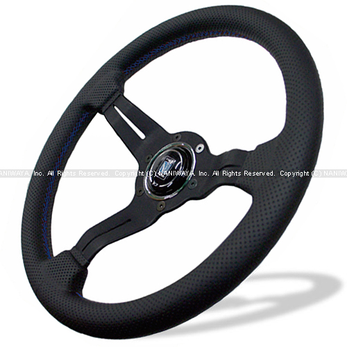 NARDI/ナルディ SPORTS(スポーツ) タイプラリー 2020限定モデル パンチングレザー/ブラックスポーク 33φ ブルークロスステッチ 商品番号:N911