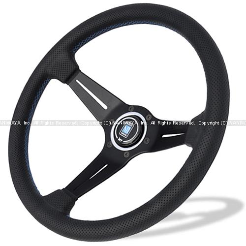 NARDI/ナルディ SPORTS(スポーツ) タイプラリー 2020限定モデル パンチングレザー/ブラックスポーク 35φ ブルークロスステッチ 商品番号:N913