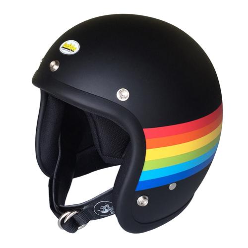【BumBleBee・バンブルビー】BBHM-02N ジェットヘルメット レインボー マットブラック