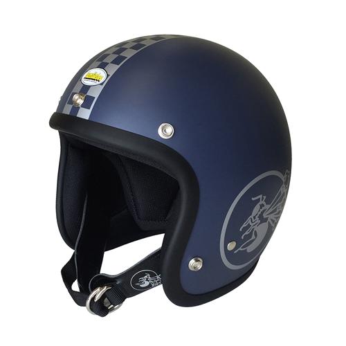 【旧南海部品京都】【BumBleBee・バンブルビー】BBHM-03N ジェットヘルメット チェッカー クラシックブルー【送料無料!】(※一部地域を除く)
