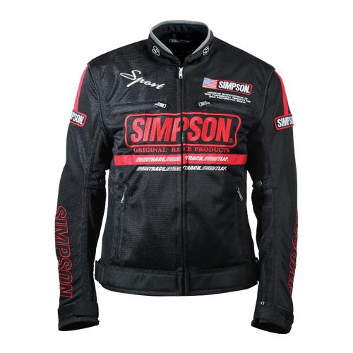【SIMPSON・シンプソン】【2019春夏物】【レディースサイズ】NSM-3L メッシュジャケット ブラック/レッド【送料無料!】(※一部地域を除く)