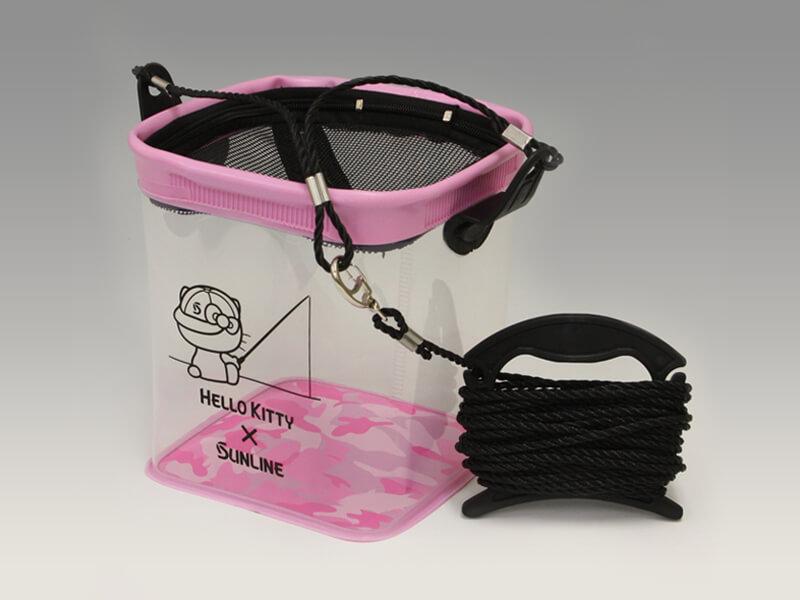 足場の高い場所からでも水汲みができるロープ付のバケツです。 サンライン ハローキティ (HelloKitty) 水汲みバケツ 21SK-01