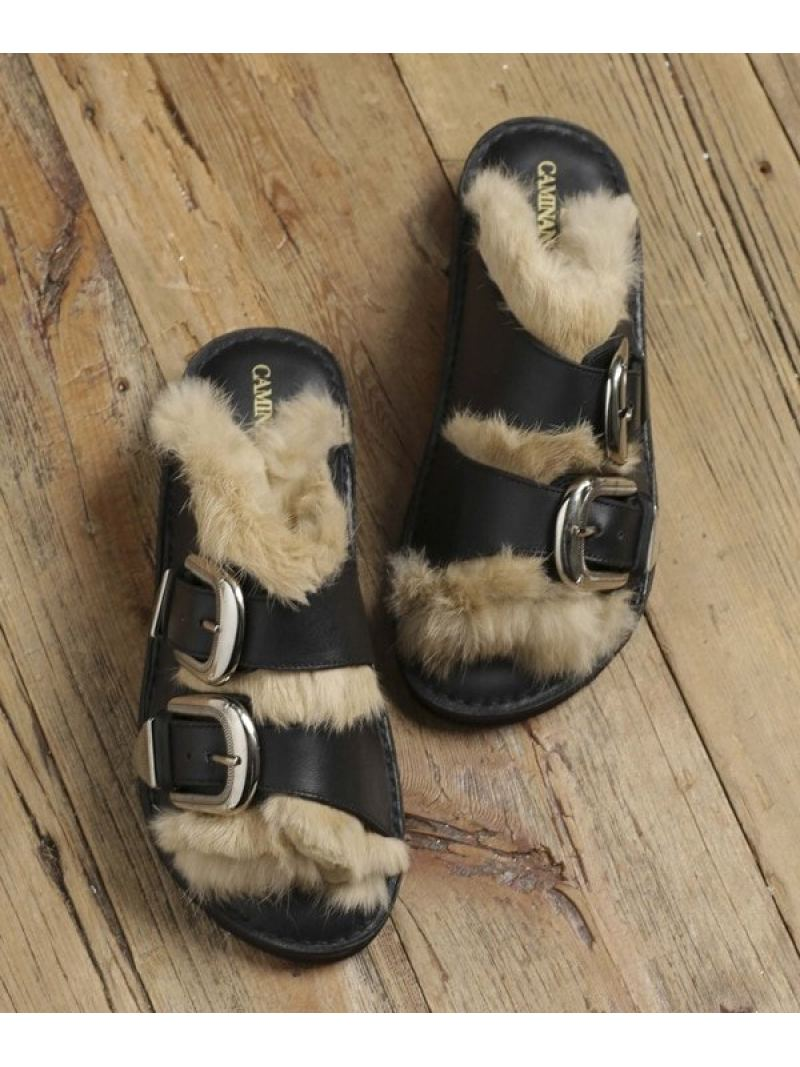 [Rakuten BRAND AVENUE]【SALE/40%OFF】DOUBLE STRAP FUR SANDALS CAMINANDO ナノユニバース シューズ【RBA_S】【RBA_E】【送料無料】