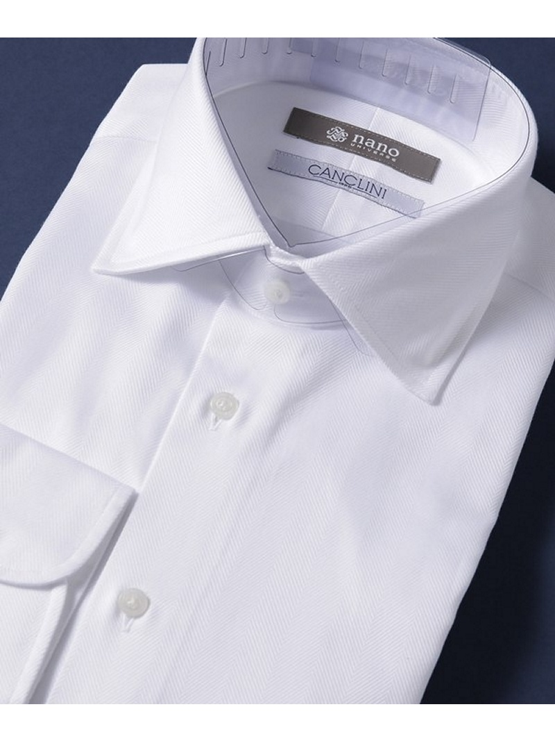 [Rakuten BRAND AVENUE]SL ヘリンボンセミワイドシャツ nano・universe ナノユニバース シャツ/ブラウス【送料無料】
