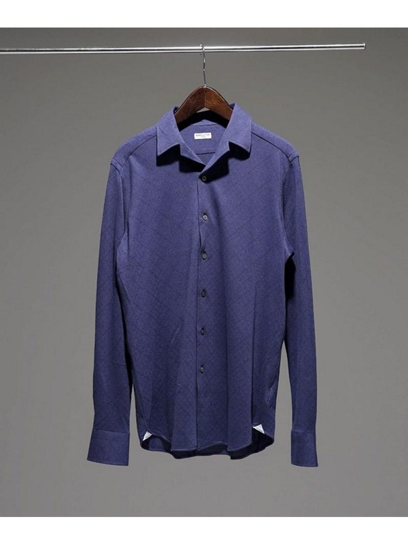 [Rakuten BRAND AVENUE]オープンカラージャージジオメトリックシャツ Bagutta ナノユニバース シャツ/ブラウス【送料無料】