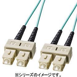 サンワサプライ OM3光ファイバケーブル (5m・アクア) HKB-OM3SCSC-05L メーカー在庫品