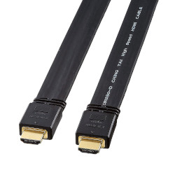 【P10S】サンワサプライ フラットHDMIケーブル 10m ブラック KM-HD20-100FK(KM-HD20-100FK) メーカー在庫品