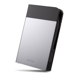 バッファロー HD-PZN2.0U3-S ICカード対応 耐衝撃 ポータブルHDD 2TB シルバー 目安在庫=△