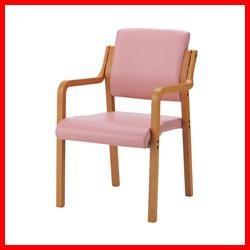 【ジョインテックス】 会議イス WF-C5AL ピンク 肘付 木製