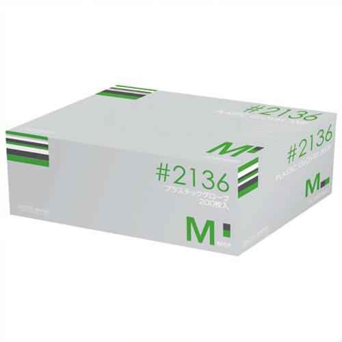 《川西工業》 プラスティックグローブ #2136 M 粉付 15箱 #2136クリア